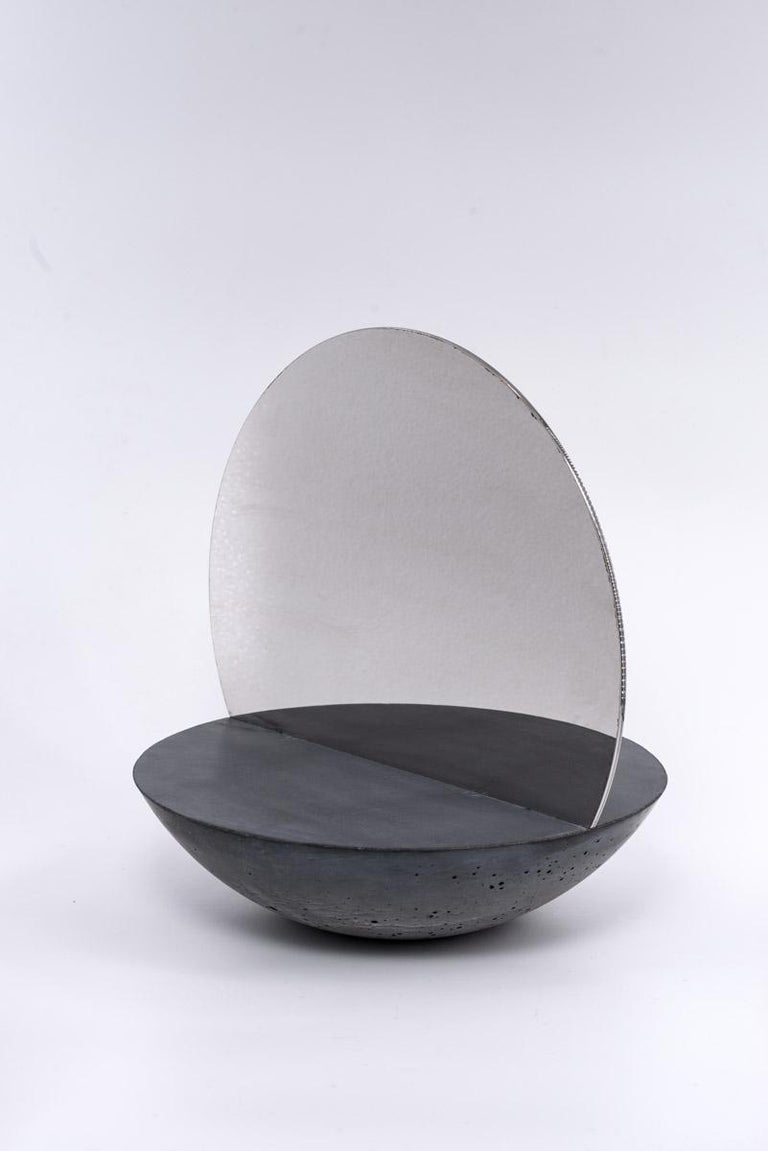 Molded D30 Double Sided Mirror in Concrete 100% Handmade in Italy For Sale