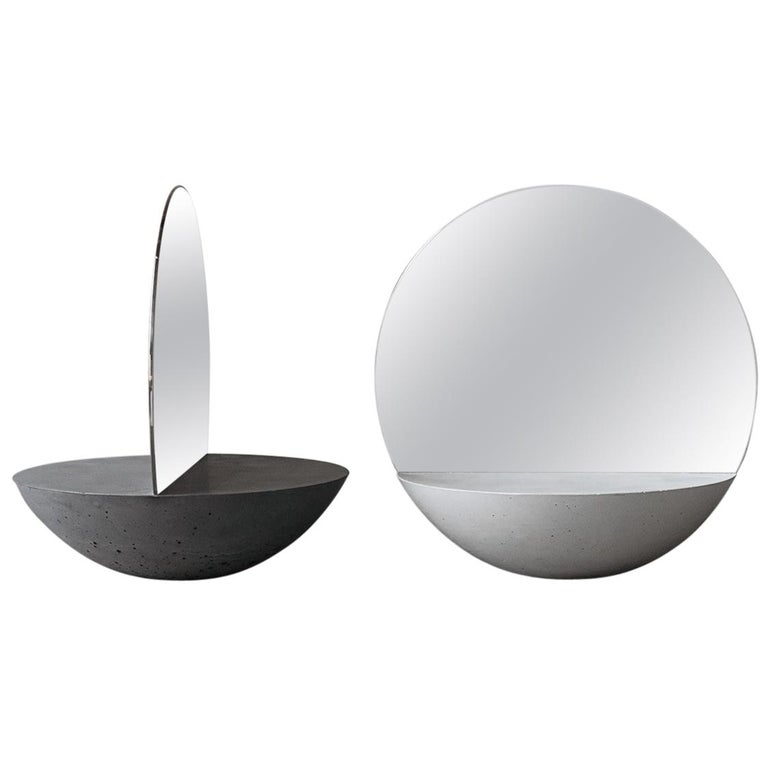 D30 Double Sided Mirror in Concrete 100% Handmade in Italy For Sale