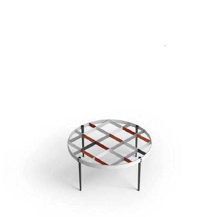 A design represented straight from Gio Ponti's house, located in via Dezza in Milan.  100% Made in Italy Based on the original drawings from the Ponti Archives Metal hand painted structure and glass top.