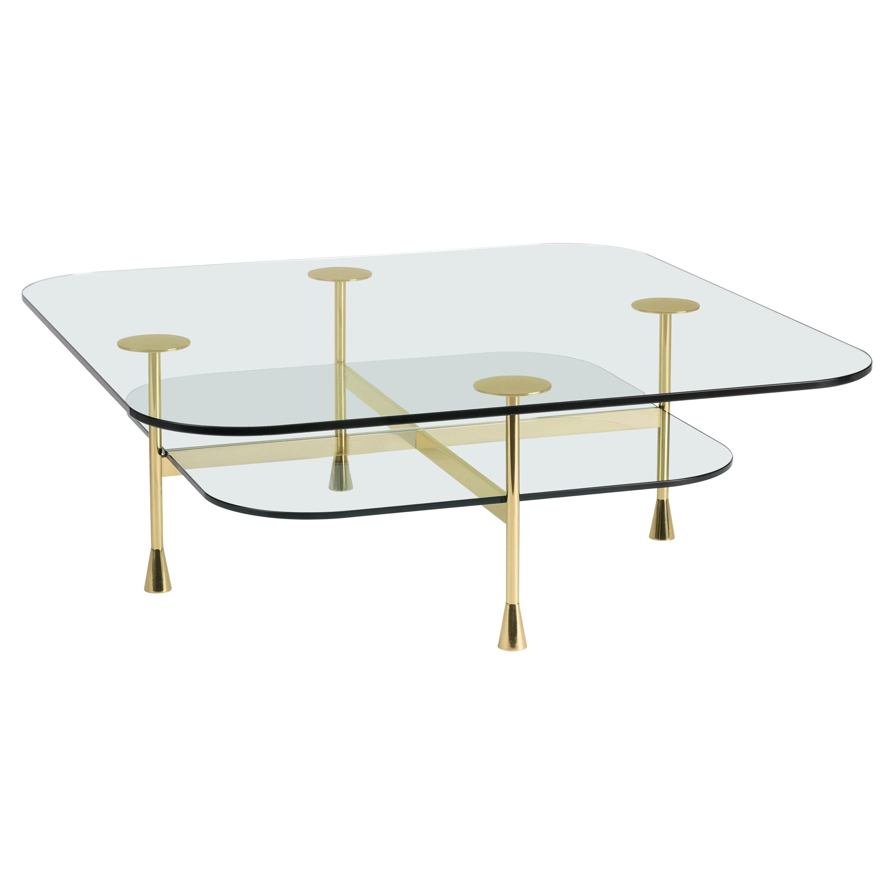 Da Vinci Center Coffee Table in Glass with Polished Brass by Richard Hutten