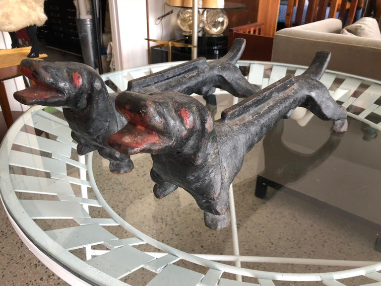 Arts and Crafts Dachshund Andirons Antique Cast Iron For Sale