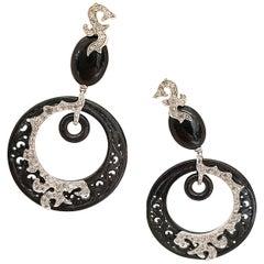Dada Arrigoni 18 Karat Gold, Black Jade and 3.22 Carat Grey Diamond Earrings