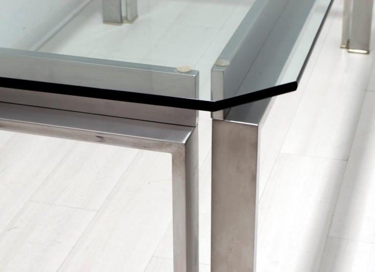 Dada Industrial Design Mid-Century Modern Italian Steel Dining Table, 1970s For Sale 5