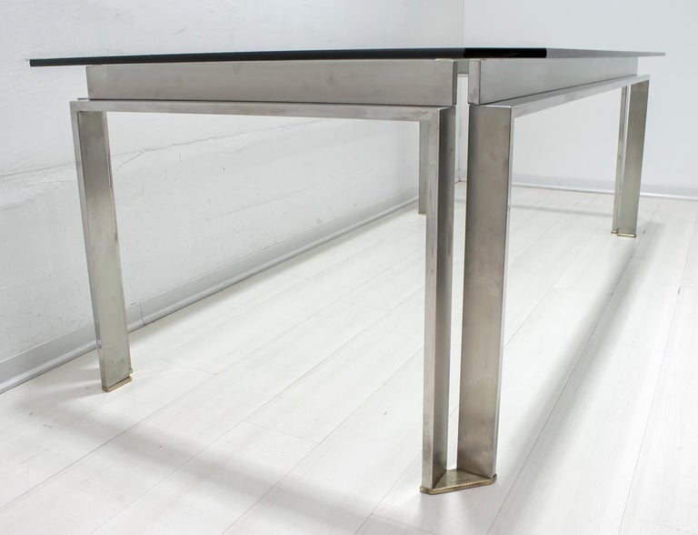 Late 20th Century Dada Industrial Design Mid-Century Modern Italian Steel Dining Table, 1970s For Sale