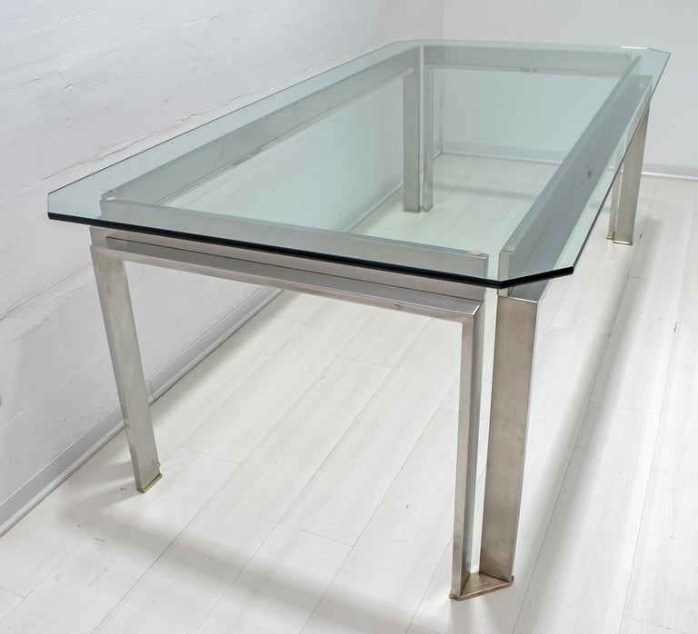 Brass Dada Industrial Design Mid-Century Modern Italian Steel Dining Table, 1970s For Sale