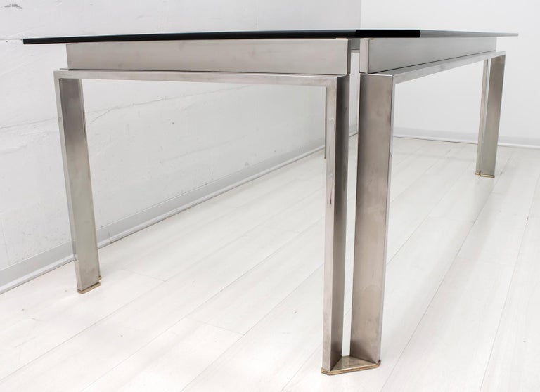 Dada Industrial Design Mid-Century Modern Italian Steel Dining Table, 1970s For Sale 1