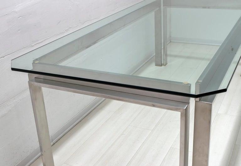Dada Industrial Design Mid-Century Modern Italian Steel Dining Table, 1970s For Sale 2