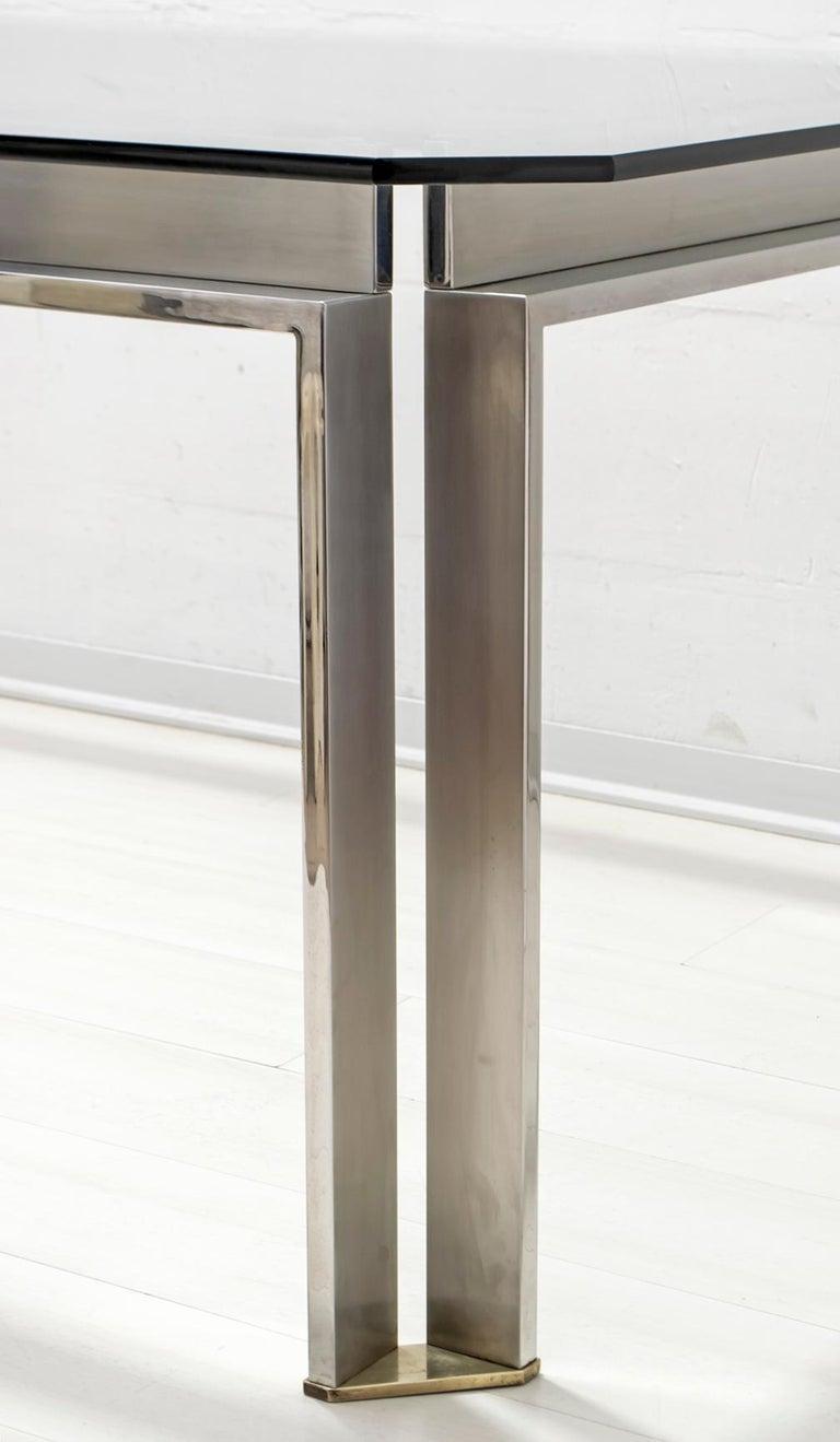 Dada Industrial Design Mid-Century Modern Italian Steel Dining Table, 1970s For Sale 4