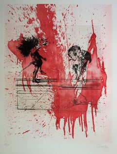 Two Men on a Red Background - Original Handsigned Etching / 99ex