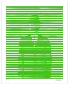 Green And Grey Lines - Original Giclée by Dadodu - 2016