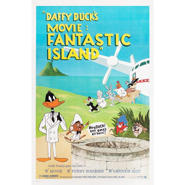 Original 1983 U.S. one sheet poster for the film Daffy Duck's Movie: Fantastic Island directed by Phil Monroe / Friz Freleng / Chuck Jones / Robert McKimson with Mel Blanc / June Foray / Les Tremayne. Very Good-Fine condition, folded. Many original