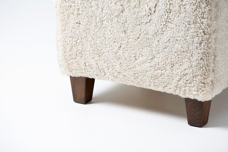 Scandinavian Modern Dagmar Design Custom Made Sheepskin Ottoman For Sale