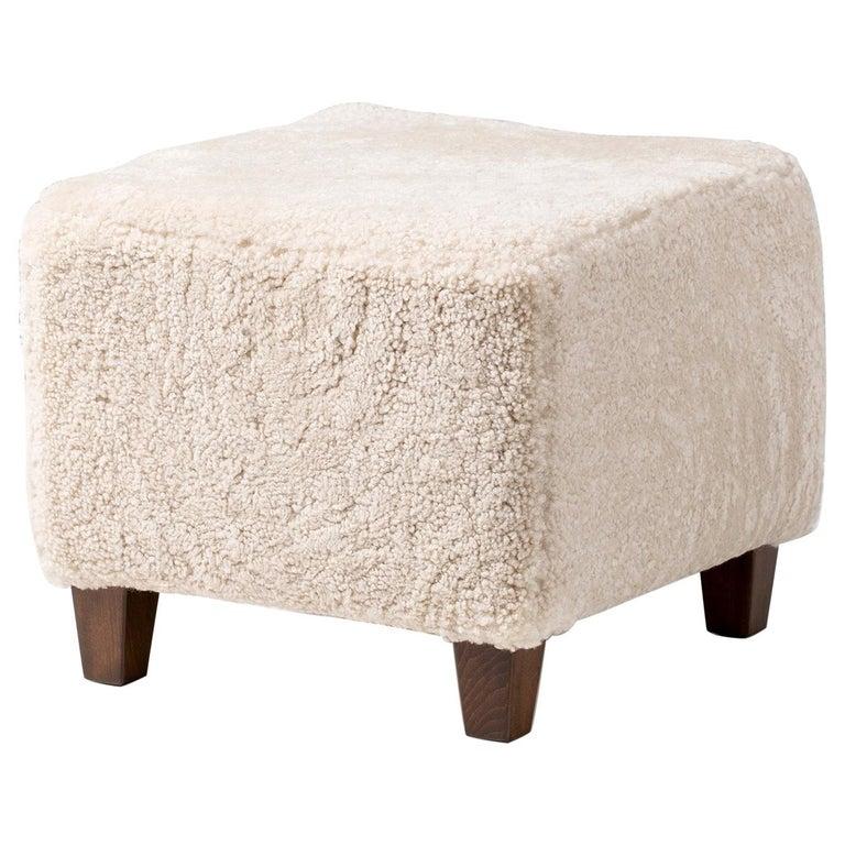 Dagmar Design Custom Made Sheepskin Ottoman For Sale