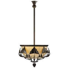 Dagobert Peche Art Deco Chandelier for Wiener Werkstaette by Woka Lamps Vienna
