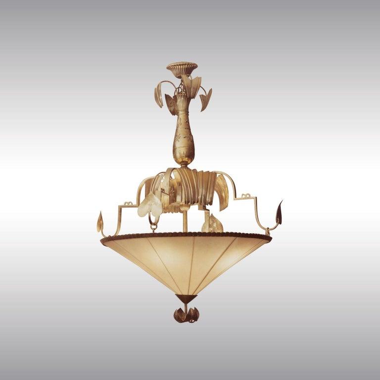 Brass Dagobert Peche Wiener Werkstaette Neue Galerie NY Jugendstil Chandelier Reedited For Sale