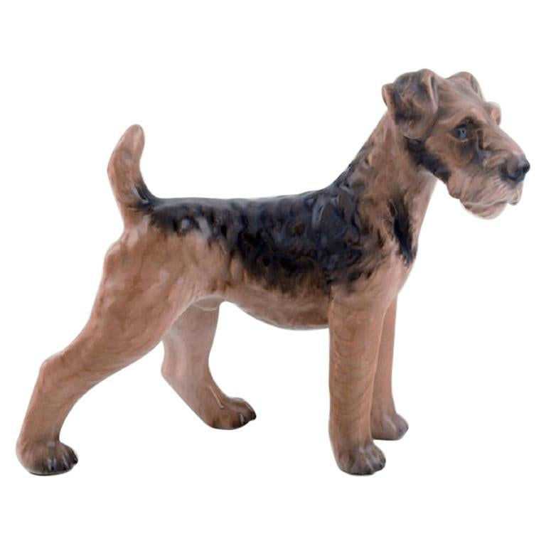Dahl Jensen Porcelain Figure, Airedale Terrier, 1930s-1940s