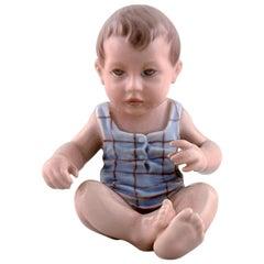 Dahl Jensen Porcelain Figurine. Baby Boy. Model Number 1105. 1st Factory Quality