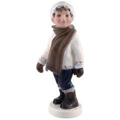 Dahl Jensen Porcelain Figurine, Boy in Winter Clothes, Model Number 1064
