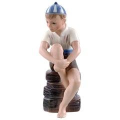 Dahl Jensen Porcelain Figurine, Boy with Striped CAP, Model Number 1328