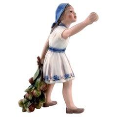 Dahl Jensen Porcelain Figurine, Girl with Apple Branch. Model Number 1288