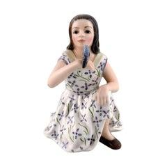Dahl Jensen Porcelain Figurine. Girl with Bird. Model Number 1366