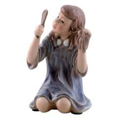 Dahl Jensen Porcelain Figurine, Girl with Mirror, Model Number 1351