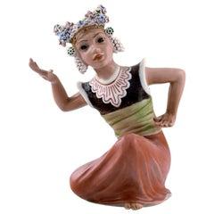 Dahl Jensen Porcelain Figurine, Oriental Dancer, Model Number 1323