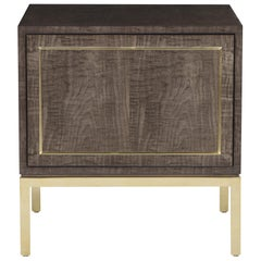 Davidson's Contemporary, Dahlia Bedside Table, in High-Gloss Sycamore Dusk Wood