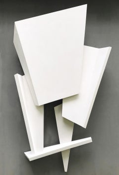 Closing Gate (Minimalist 3-D Abstract Wall Sculpture in Bright White)