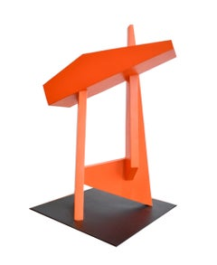 The Gate (Minimalist Abstract Standing Sculpture in Bright Red Orange)