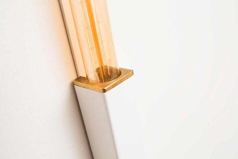 Organic Modern Daikon Mini Stilk Sconce Mid-Century Modern with Brass Details and Lamping