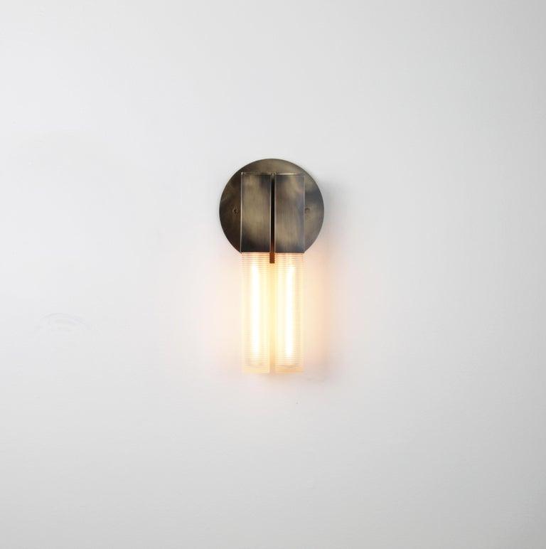 Minimalist Daikon POST  2.0 Sconce  Black Brass Steel Modern Minimal Light For Sale