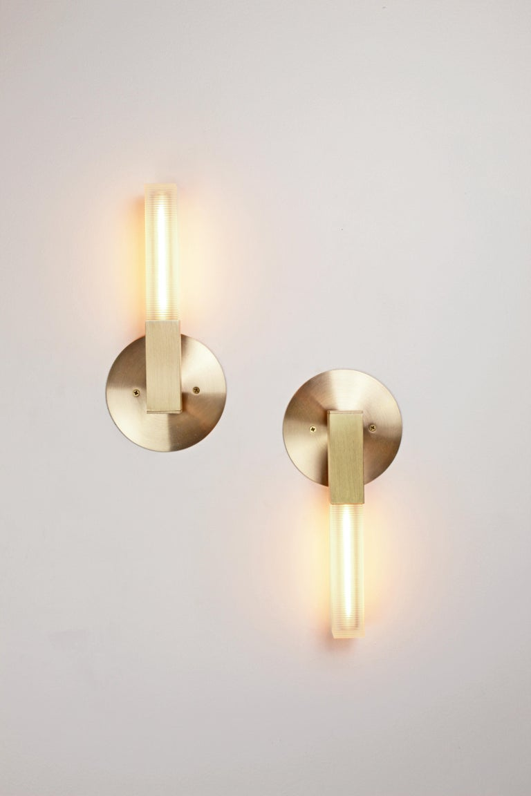Patinated Daikon Post Mini Sconce, Small Brass Modern Light For Sale
