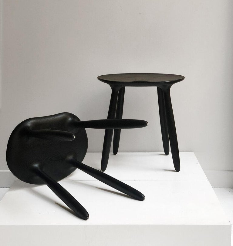 Daiku Stool is presented by by Victoria Magniant for Galerie V  The Daiku collection is a serie of eco-designed pieces inviting simplicity. The surface is deeply sanded to create fluid shapes and finished with water based stain to expose the beauty