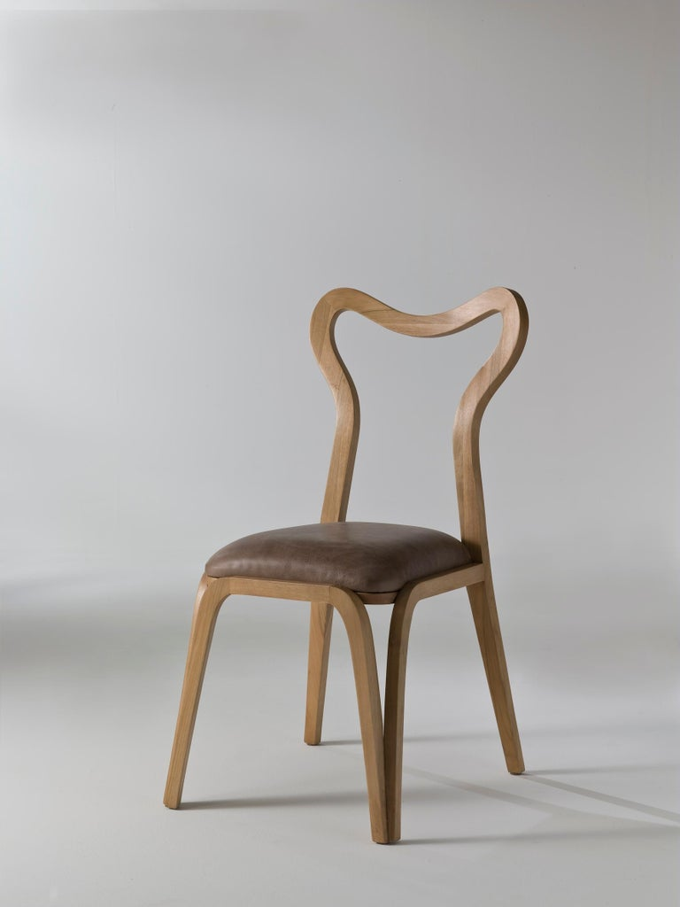 Italian Dining Chair in Wood and with Upholstered Seat For Sale