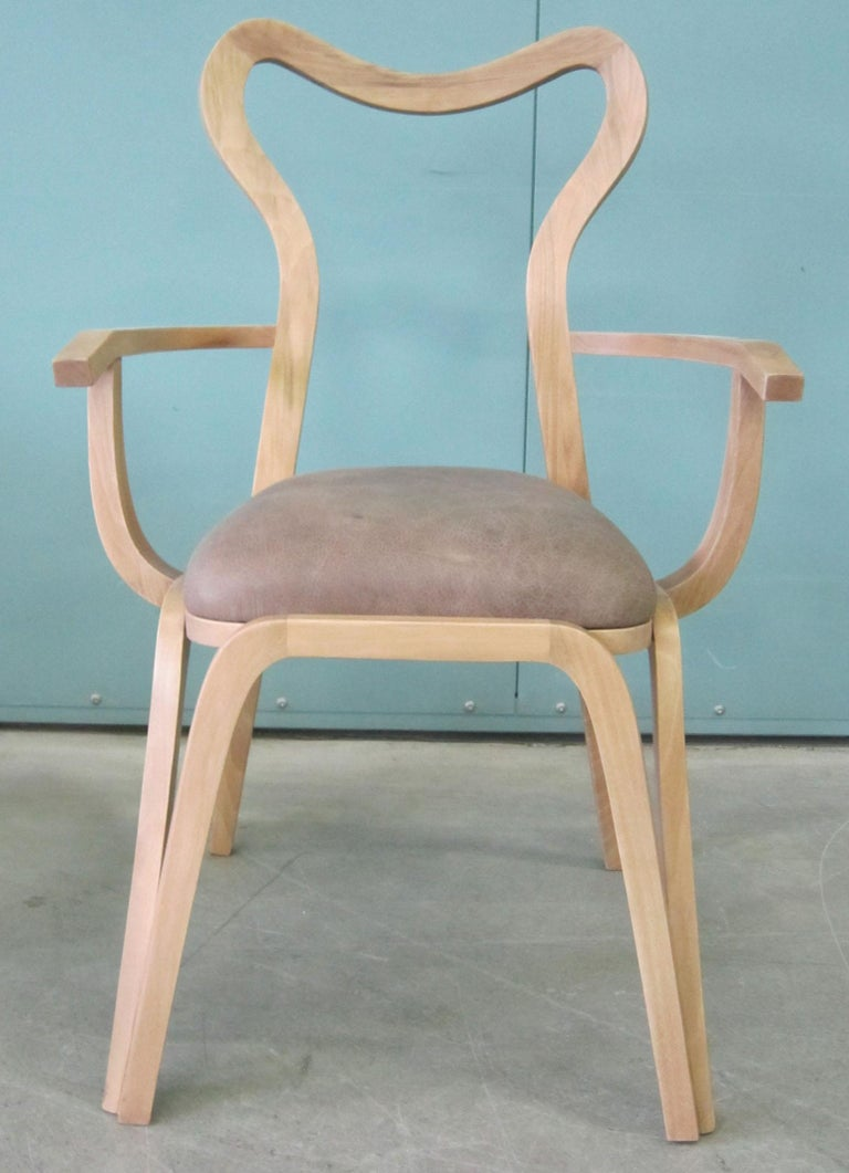 Contemporary Dining Chair in Wood and with Upholstered Seat For Sale