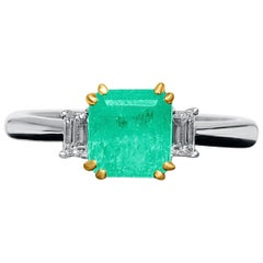 Dainty 1.20 Carat Emerald-Cut Colombian Emerald and Diamond 18k Engagement Ring