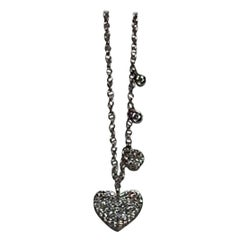 Dainty 4 Heart 14 Karat White Gold White Pave Diamond Necklace