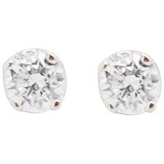 Dainty Diamond Earrings, 14 Karat White Gold Round Studs .15 Carat Diamond Studs