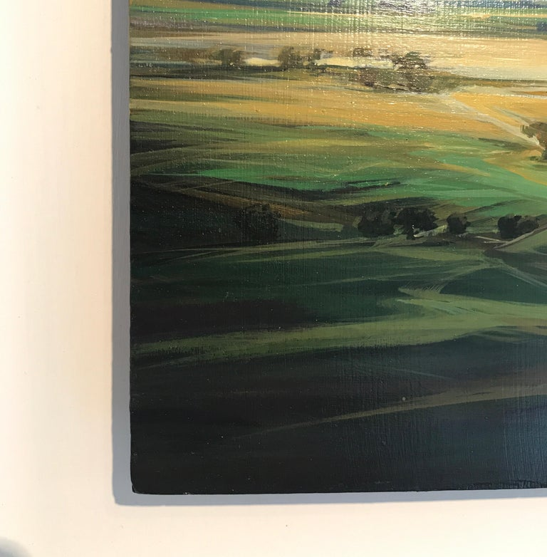 Distant Green original abstract landscape painting Contemporary 21st Century Art - Abstract Impressionist Painting by Dairo Vargas