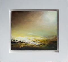 Glowing Light-Original, Expressionist Abstract, Landscape Painting, 21st Century