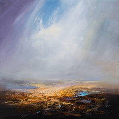 Golden original abstract landscape painting