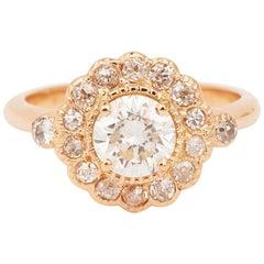 Daisy 0.97 Carat Diamond 18 Carat Pink Gold Ring