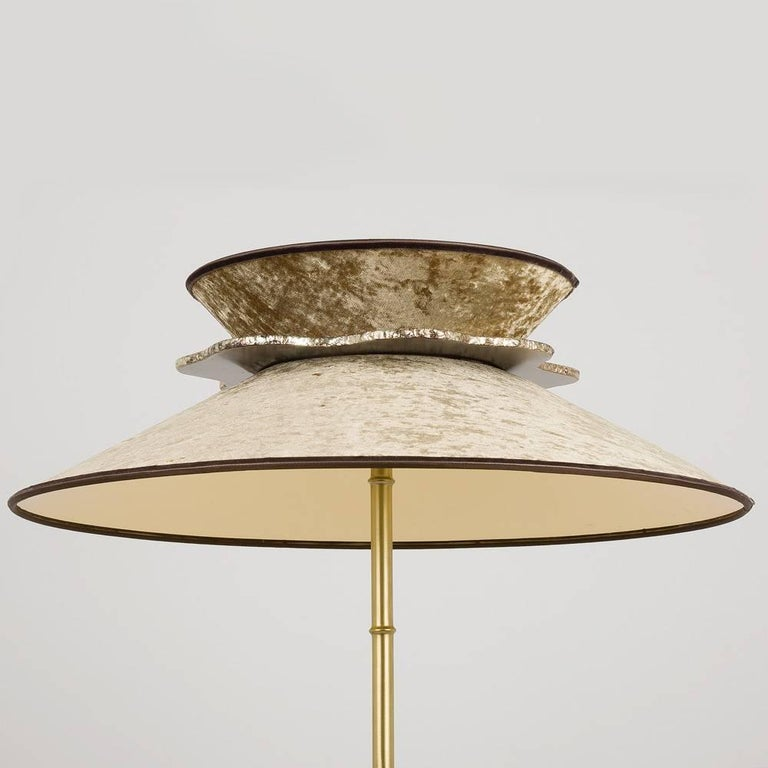 Modern Daisy Contemporary Floor Lamp Velvet Gold Pvc, Silvered Glass Necklace For Sale