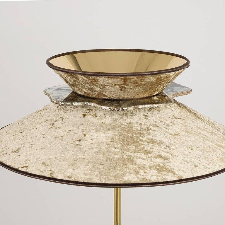 Italian Daisy Contemporary Floor Lamp Velvet Gold Pvc, Silvered Glass Necklace For Sale