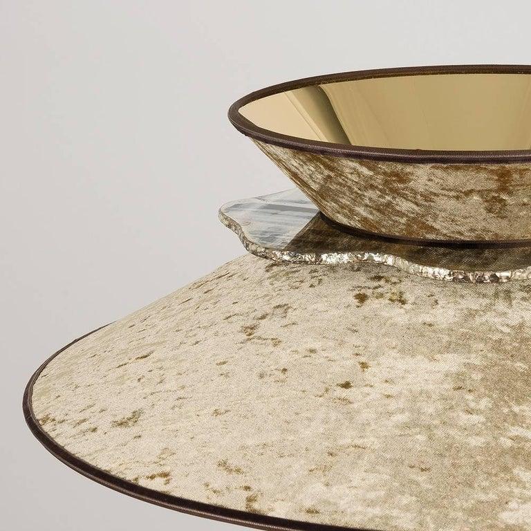 Art Glass Daisy Contemporary Floor Lamp Velvet Gold Pvc, Silvered Glass Necklace For Sale