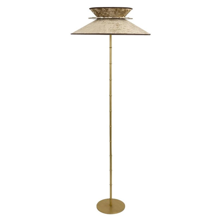 Daisy Contemporary Floor Lamp Velvet Gold Pvc, Silvered Glass Necklace For Sale