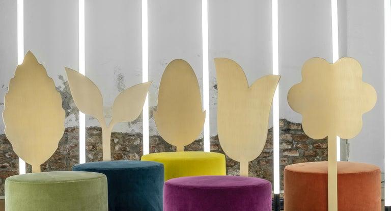 Italian Daisy Contemporary Pouf in Metal and Fabric by Artefatto Design Studio For Sale