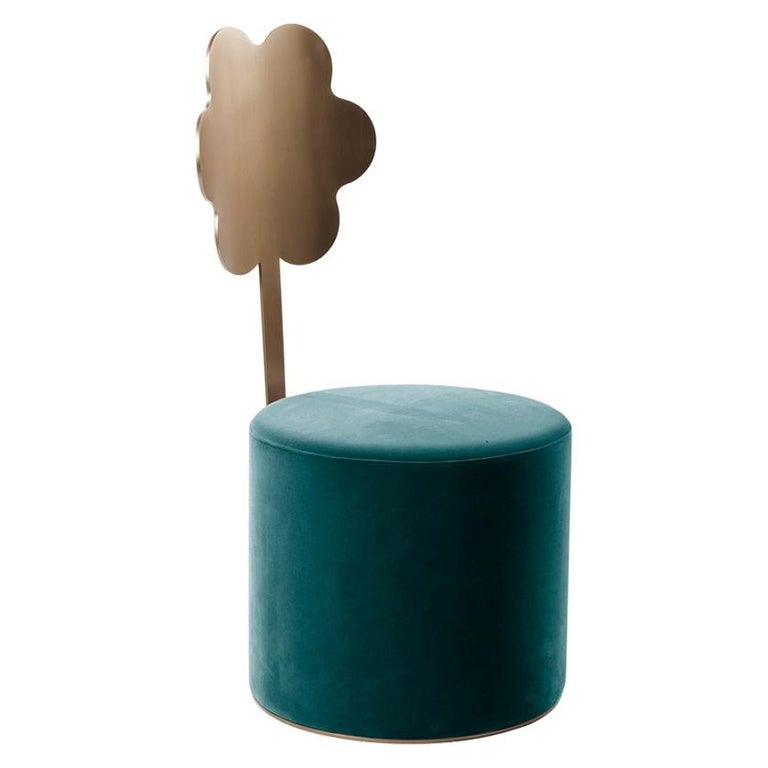 Daisy Contemporary Pouf in Metal and Fabric by Artefatto Design Studio For Sale