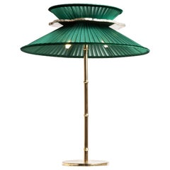 Daisy Contemporary Table Lamp Emerald Silk Glass Silvered Necklace, Gloss Brass